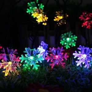 Solar Christmas Decorations.Details About Solar Powered String Lights 20led 4 8m Snowflake Outdoor Christmas Decorations