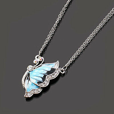 Fashion Charm Women Rhinestone Blue Butterfly Pendant Crystal Silver Necklace