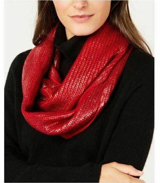 INC International Concepts liquid shine metallic loop women's scarf  - RED