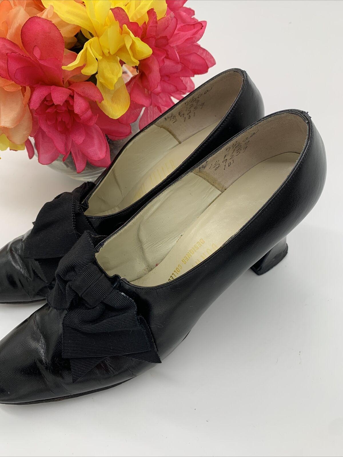 Antique Edwardian Bonwit Teller Black Leather Sho… - image 3
