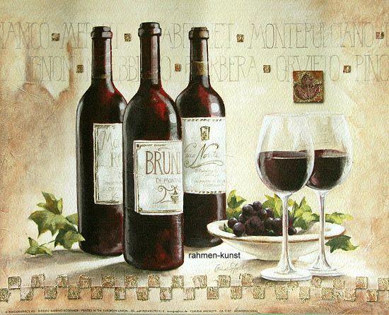 Claudia Ancilotti: Montepulciano Wein Küche Fertig-Bild 60x80 Wandbild Landhaus
