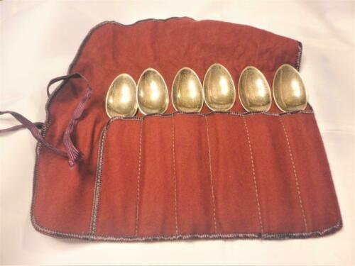 """112g Lot of 6 LUNT /""""Nellie Custis/"""" Sterling Teaspoons c1930 w// Silver Pouch"""