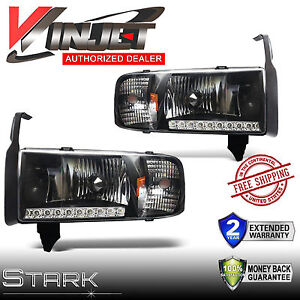 Details about 94-01 Ram 1500 Headlights LED DRL Ram 2500 / 3500 Head Lamps  Black - PAIR