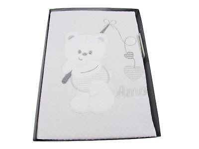 maschio disegno orso 520d1 COPERTINA LETTINO NEONATO in puro cotone ricamata