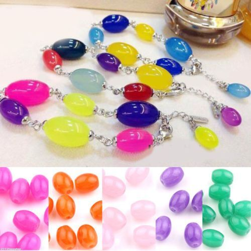 20//50PCS Clear Glass Jade Jelly Color Oval Loose Spacer Beads Bracelet DIY 8x6mm