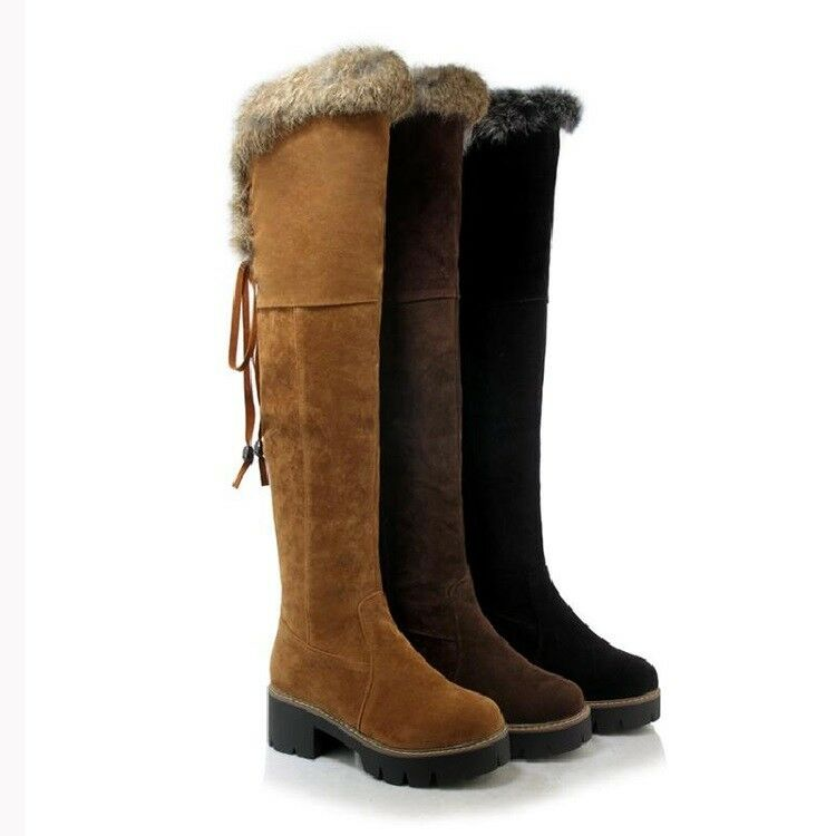 Womens Rabbit hair Faux Leather Knee High Boots Winter Warm Snow shoes Fashion