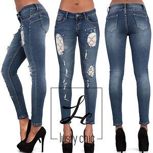 New-Ladies-Skinny-Jeans-Womens-Ripped-Lace-Slim-Stretch-Denim-Size-6-8-10-12-14