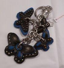NWT COACH BLACK & BLUE BUTTERFLY MIX HAND BAG CHARM KEY CHAIN RING FOB 58997