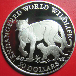 1990-COOK-ISLANDS-50-SILVER-PROOF-COUGAR-amp-CUB-ENDANGERED-WILDLIFE-CAT-FAMILY