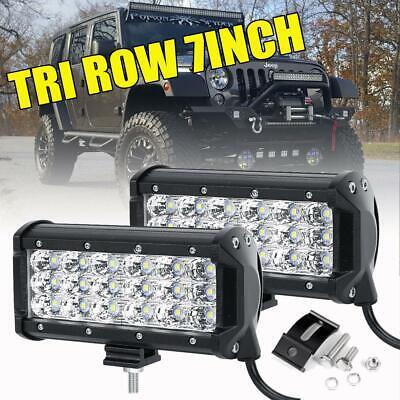 "2x 7/""INCH 180W Tri Row  LED Light Bar Spot Offroad Driving 4WD Truck ATV UTE 6/"""