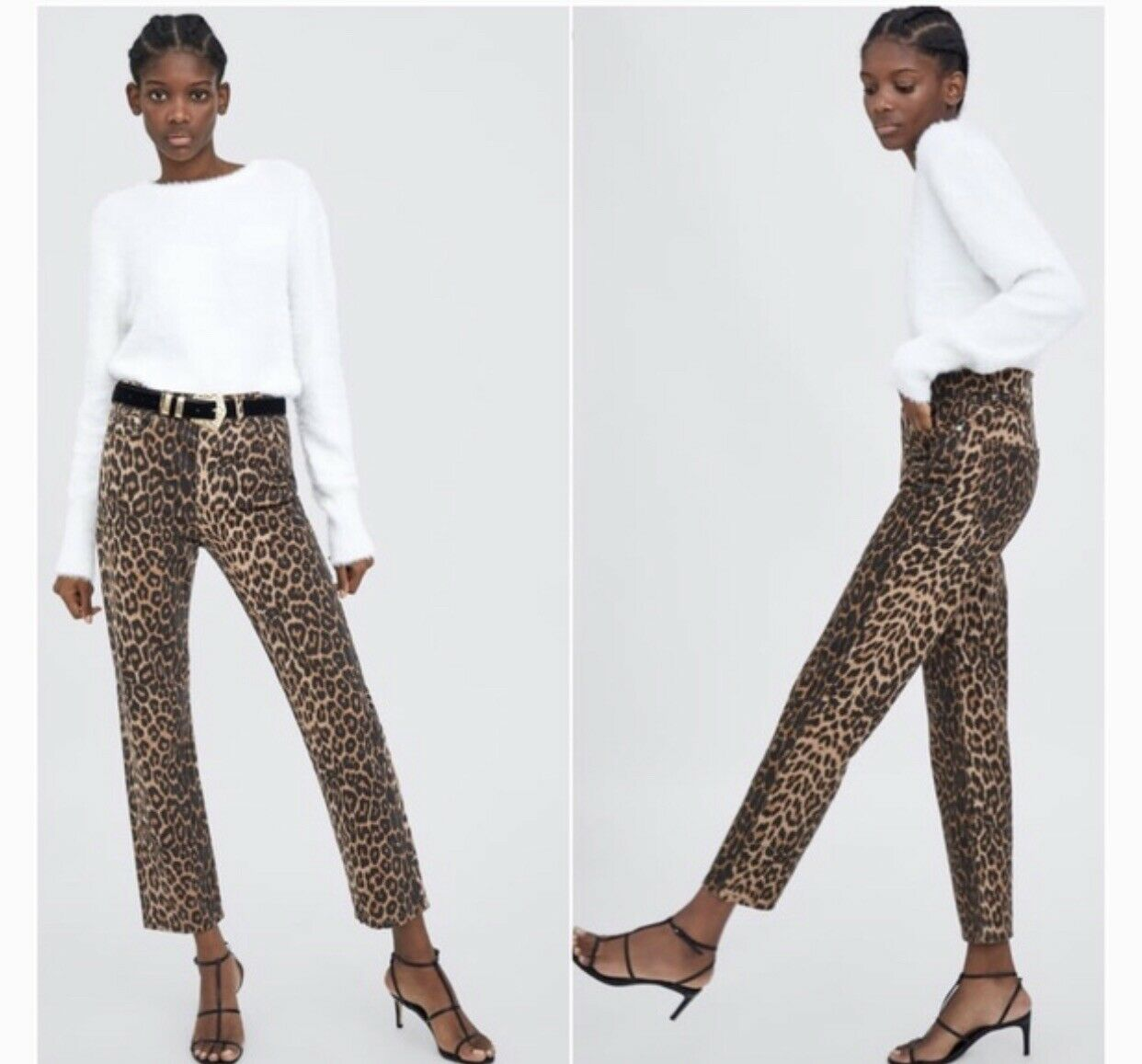 Zara Cheetah Animal Print Denim NWOT Eur 34 US 02  Sold Out High Waisted