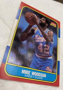 1986 Fleer BB Mike Woodson Signed Autographed 1986 Fleer #129