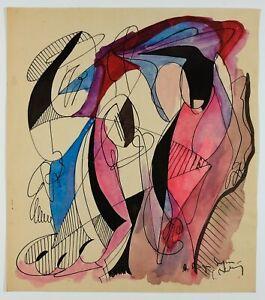 Dessin-Ancien-Original-Signe-Abstrait-Abstraction-Femme-Aquarelle-Encre