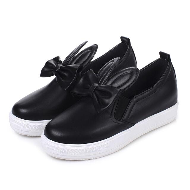 Sweet Bunny Ears Bowknot Women/'s Platform Girls Flats Loafers Chic Shoes Plus Sz