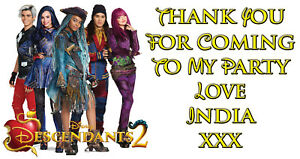 Image Is Loading Personalised Disney Descendants 2 Birthday Party Thank You