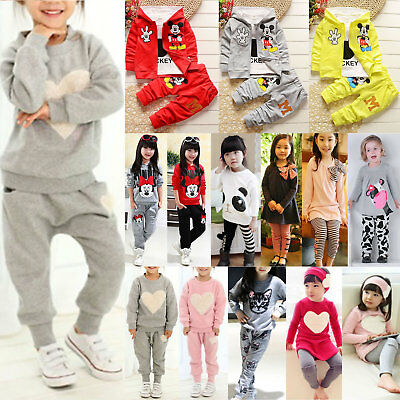 Child Baby Boy//Girls Minnie Mouse Sweatshirt Tops Pants Tracksuit Cotton Clothes