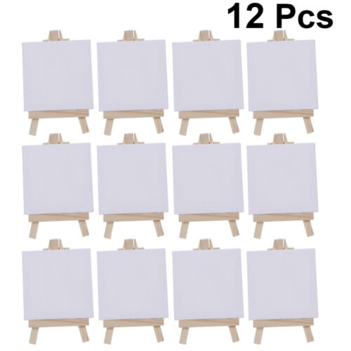 12Pcs Mini Kids Stretched Canvas Board Art White Blank Wooden Oil Paint Board
