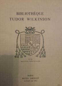 1971 Catálogo De Venta Demuestra Drouot Biblioteca Tudor Wilkinson