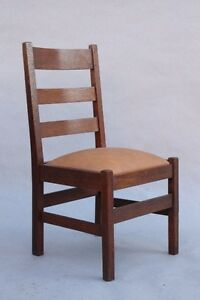 Image Is Loading 1910 Arts Amp Crafts Ladder Back Side Chair