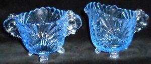 Cambridge Glass Blue Caprice motif pot à lait et sucre