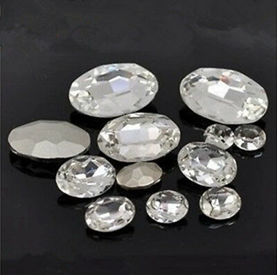 Clear oval rhinestone crystal bead point back glass foiled variable size