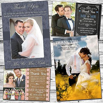 Inteligente 50 Matrimonio Personalizzati Ringraziamenti Con Buste E Foto Piegata Cartolina- Prestazioni Affidabili