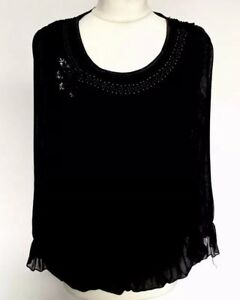Stunning Black- Point S/M Blouse Top
