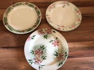 Three-Vintage-Hand-Painted-Sponge-Painted-26cm-Plates