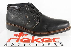 Rieker-Botas-Tex-14343-Botas-de-cordon-cuero-autentico-Negro-Impermeable-NUEVO