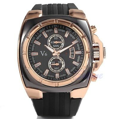 Men's Quartz Analog Stainless Steel Rose Gold Dial Silicone Strap Wrist Watch