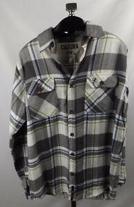 New-Cultura-Vintage-Cali-Style-Fannel-Shirt-Small-Gray-Plaid-Mens