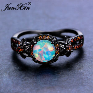 Image Is Loading White Fire Opal Star Flower Ruby Ring Black