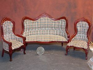 cool 12 scale dollhouse living room set | Dollhouse Miniature Victorian Living Room Sofa Set 1:12 ...