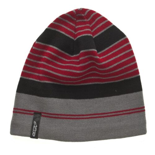Alpinestars Beanie Lateral Striped Woolly Hat Red Black Grey
