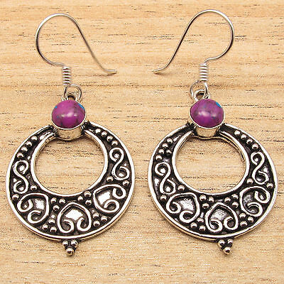 PURPLE COPPER TURQUOISE Gems Antique Style Jewelry Earrings ! 925 Silver Plated