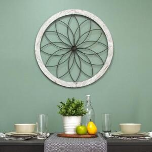 Details About Rustic Country Farmhouse Shabby Chic Floral Round Metal Wood Wall Art Home Decor