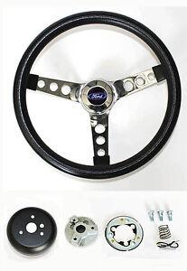 Grant-13-1-2-034-Black-Steering-Wheel-Fits-Ididit-Column-Chrome-Spokes-Ford-Cap