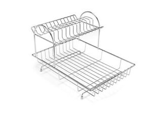 Addis-2-Tier-Drainer-Dish-Draining-Rack-Stainless-Steel-4-Piece