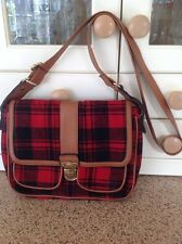 GREAT HENRY HOLLAND RED & BLACK TARTAN MESSENGER BAG USED SIGNS OF WEAR