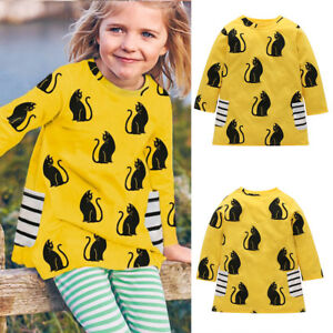 Toddler-Baby-Girls-Kids-Autumn-Clothes-Long-Sleeve-Party-Cat-Tops-T-Shirt-Dress