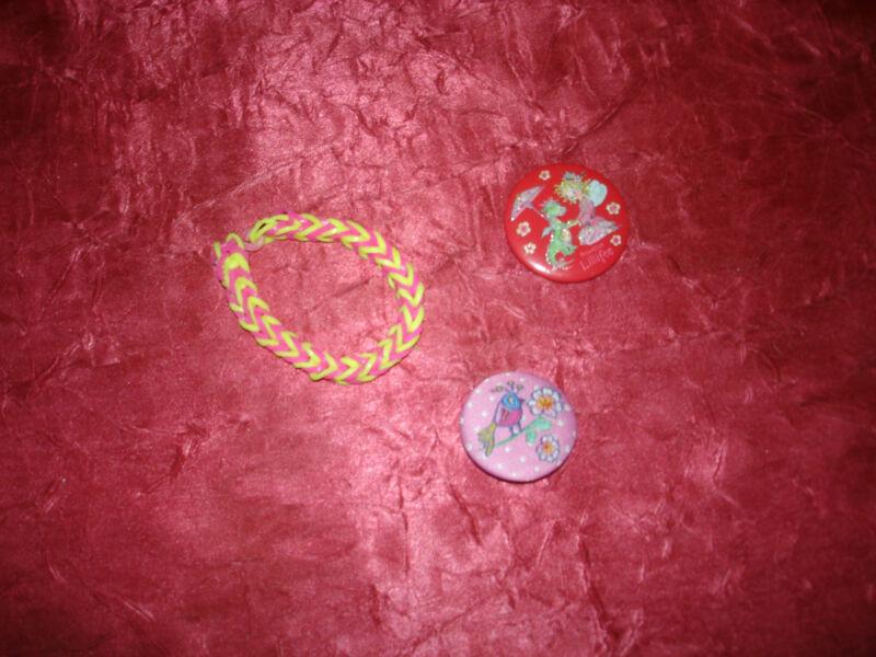 2 Buttons Und 1 Loom-armband, Wie Neu, Lillifee Und Rosa Button Mit Vogel, Total