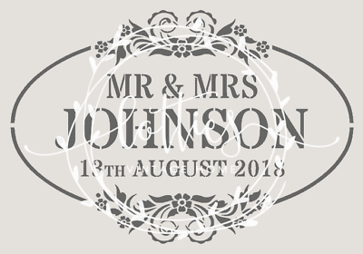A4 PERSONALISED STENCIL Decoration DIY crate signs SHABBY CHIC Vintage WEDDINGS