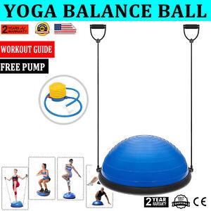 23-034-Yoga-Half-Ball-Balance-Trainer-Fitness-Strength-Exercise-Gym-w-Pump-Blue-New