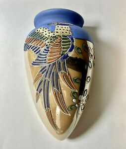 Vintage Hotta Yu Shoten & Co. Pottery Hand Painted Wall Pocket Lusterware Vase