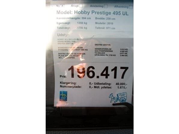 Hobby Prestige 495 UL, 2019, kg egenvægt 1350