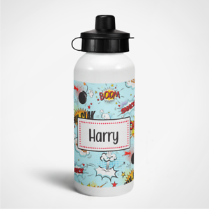 Personalised Comic Superhero Boys 400ml Kids Children/'s Water Drinks Bottle