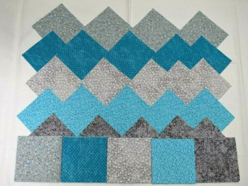 BRIGHT TEAL /& GRAY GROUPING 4 Inch Quilting Squares