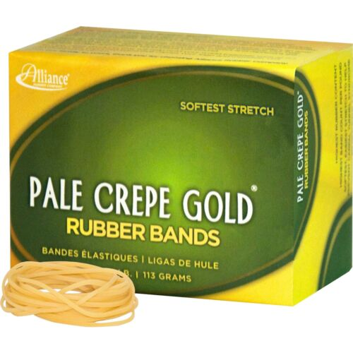 """#16-2.50/"""" Length X 60 Mil Alliance Rubber Pale Crepe Gold Rubber Bands Size"""