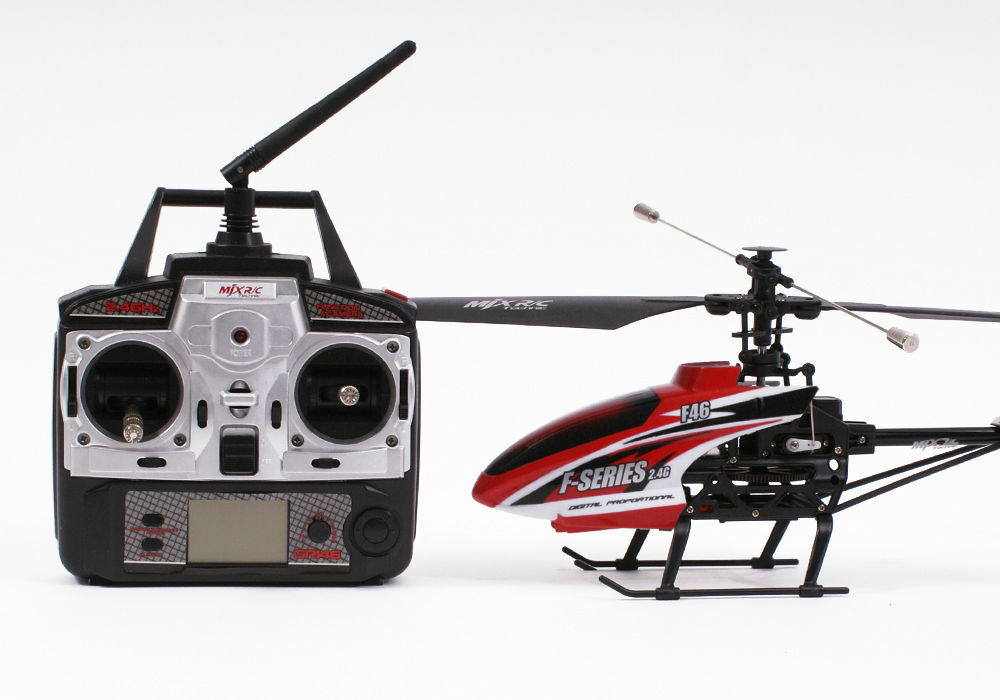 Radio Control RC Model Helicopter Red F46 2.4GHz w  Gyro Ready To Fly New