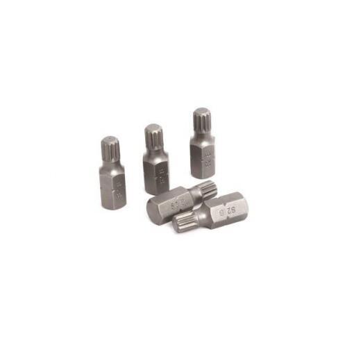 """5pc 3//8/"""" Spline Bit Set 10mm Hex Shank M8 x 30mm"""
